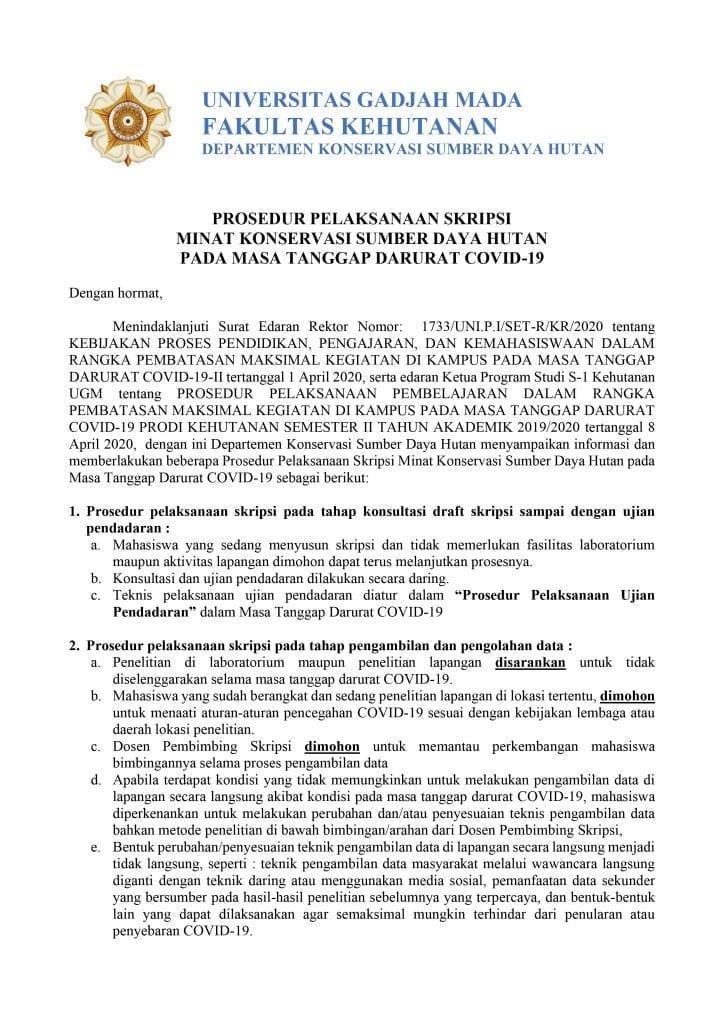 Prosedur Pelaksanaan Skripsi Minat Konservasi Sumber Daya Hutan Pada Masa Tanggap Darurat Covid 19 Departemen Konservasi Sumberdaya Hutan Ugm